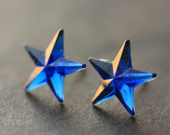 Royal Blue Star Earrings. Cobalt Blue Earrings. Silver Stud Earrings. Star Earrings. Post Earrings. Handmade Earrings. Handmade Jewelry.