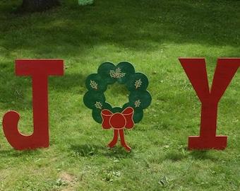 JOY Holiday Yard Sign, Christmas Yard Letters, Christmas Yard Art, Yard Signs, Yard Stakes, Christmas Outdoor Decor, Christmas Wreath Yard