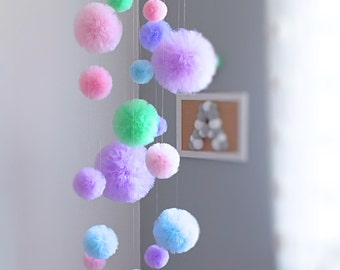 Hanging Mobile, Custom Colors Mobile, Baby Shower Decor, Centerpiece Hanging, Pom Pom Mobile, Teen Room Decor, Tulle Pom Pom, Large Mobile