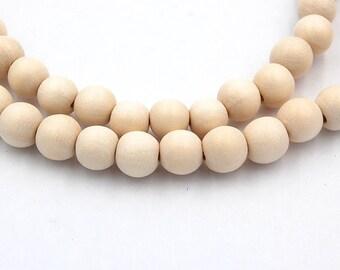 6mm White Wood Beads, round wood boho chic -16 inch strand