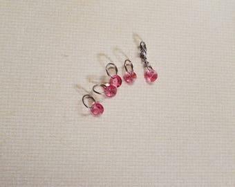 Set of 5 - pink Swarovski crystal stitch markers and progress keeper