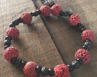Handmade Genuine Red Lava Stone Bracelet with Black Bead Accents