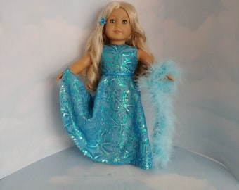 Aqua Sequin Gown  18 inch doll clothes
