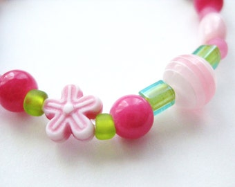 Girls Bracelet, Pink Flowers with Green Beads and Pink Mother of Pearl, Large Bracelet, GBL 122