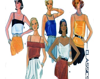 Butterick 3193, Women, Sewing Pattern, Camisole, Top, Blouse, Narrow Spaghetti Strap, Sleeveless Top, Size 12, Bust 34, 80s Vintage Pattern
