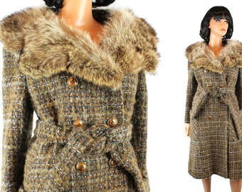 Vintage Trench Coat M 70s Plaid Wool  Raccoon Fur Collar Princess Jacket Free US Shipping