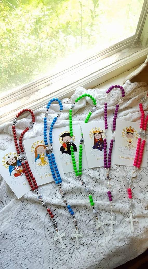 Custom Kids Patron Saint Rosary with Holy Card