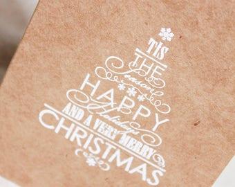 Christmas Card set of 5, Merry Christmas, Christmas stationary, Holiday Cards, Rustic Christmas cards, blank card set, holiday greetings