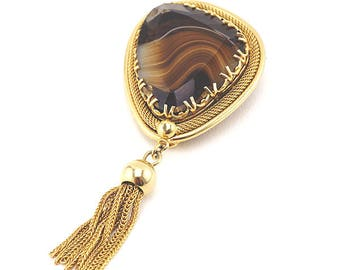 Abstract Modernist Vintage Tassel Brooch With Large Givré Stone