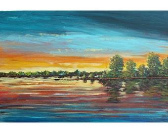sunset Lovers landscape painting lake boat ORIGINAL  trees realism acrylic impressionism rose aqua olive water reflection Canvas 24x36