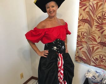 Pirate wench costume-includes skirt, top, corset belt, pirate hat size 10-12