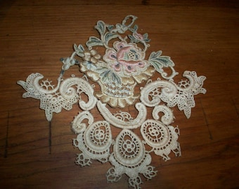 antique lace embroidered applique 3-dimensional metallic