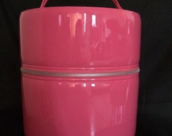 Vintage Women's Hot Pink Vinyl Double Hat/ Wig Box With Stand Sealatron Corporation