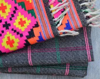 Hand loomed wool vintage Kinnaur Himalayan blanket, tartan checked cosy throw tribal ethnic bohemian Himalayan fall winter rug