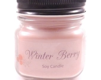 Winter Berry Scented Soy Candle 8oz. Mason Jar