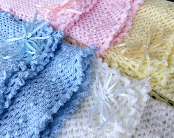 Hand Knit Crochet Afghan Baby Blanket