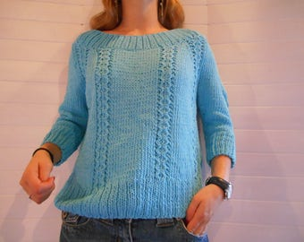 Turquoise pure cotton, scoop neck sweater.
