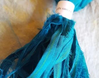 Sari silk ribbon yarn turquoise, 5 yards