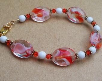 Creamsicle - Swirled Orange and White Glass Bracelet