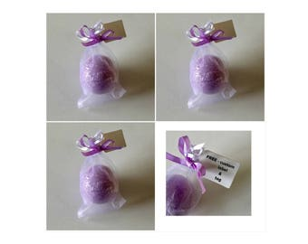4 Lavender Bath Bombs - 5 oz. XL  WEDDING, Birthday, Shower Favors. Easter, Mother's Day, FREE - custom label and tag, organza bag, ribbon