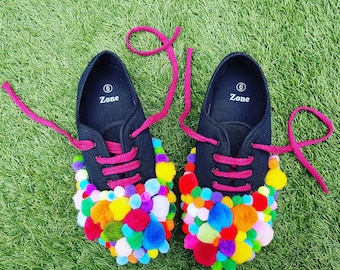Summer of fun pom pom daps UK Size 6 - perfect for festivals & picnics - pair of black trainers covered in over 100 multicoloured pom poms