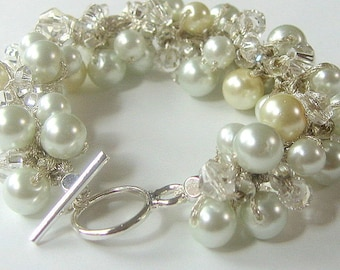 Classic Pearl Crystal Bridal Wedding Bangle Bracelet, Ivory, White - A TOUCH of CREAM -  Romance, Unique Original by Sereba Designs on Etsy