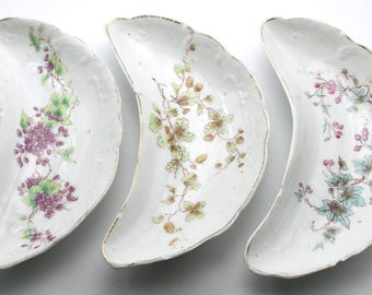 set of 3 Victorian Hand-Painted Crescent-shaped Porcelain Bone Plates