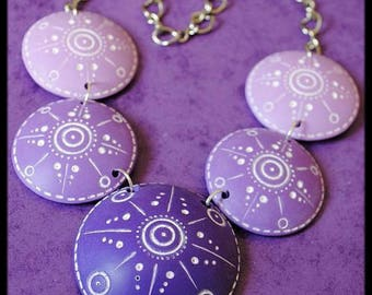 Purple and purple polymer necklace