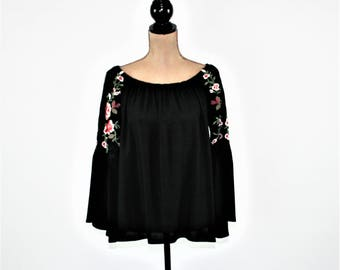 Black Peasant Blouse Off Shoulder Top Embroidered Hippie Boho Bell Sleeve Shirt Hippie Clothes Romantic Boho Clothing Womens Clothing
