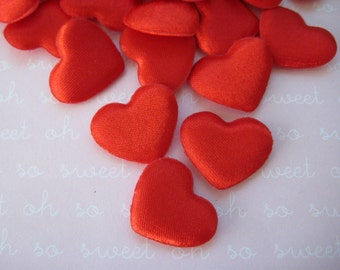 Small Red Heart Padded Ornaments for Valentine's Decor, Wedding Decor, Crafting, Embellishment, Scrapbooking, 24 pieces, 1 inch