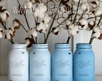 Ombre Blue Mason Jar Set - Quart Size Painted & Distressed Mason Jars