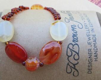 Gemstone Bead Bracelet, Carnelian Stone Bracelet, Handmade Designer Bracelet, K Brown Jewellery, Designer Jewellery, Scotland, U.K.