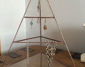 Jewellery stand, Glass Pyramid stand, jewellery organiser, copper display stand, craft fair display holder, necklace holder,