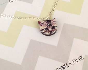 Cat Necklace, cat jewellery, Cat pendant, animal jewellery, pet, tabby, tabby cat, wooden necklace, laser cut necklace, gifts for her