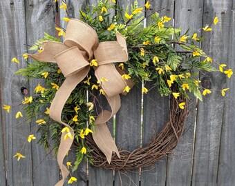 Spring Summer Wreath, Wreath Spring and Summer, Yellow Forsythia Burlap Wreath for Door or Mantle, Door wreath Yellow Forsythia, Etsy Wreath
