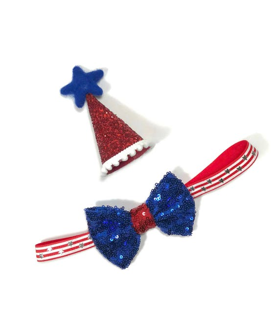 Red White Blue Dog Birthday Hat and Large Bow Tie ||  Pet Birthday Party Outfit || Pet Puppy Cat Kitten || Kitty Pig Birthday Crown |