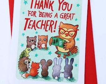 Thanks for Being a Great Teacher Card - Teacher thank you card Teacher Appreciation Preschool thank you card end of school year card thanks