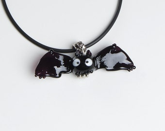 Bat lampwork pendant, halloween necklace, halloween gift, halloween bat, black necklace, black bat, designer necklace, fashion jewelry