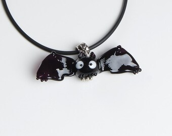 Bat lampwork pendant, halloween necklace, halloween gift, halloween bat, black necklace, black bat, designer necklace, fashion jewelry