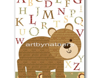 Bear Nursery Alphabet Nursery Art for Children Printable Digital Print Baby Boy Nursery Digital Download Print 8x10 11X14 INSTANT DOWNLOAD