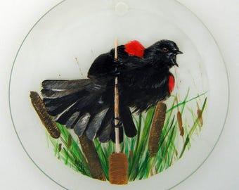 Hand Painted Glass Ornament - Red-winged Blackbird