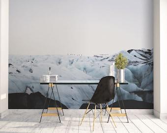 Blue mountain wall mural, Iceland mural, Office decor, Large wall art, Self Adhesive wallpaper, Iceland photography, Scandinavian art. SV053
