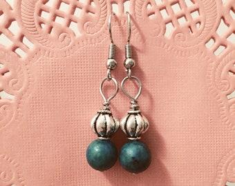 Jasper Wire Wrap Drop Earrings, Handmade Wirewrap Earrings