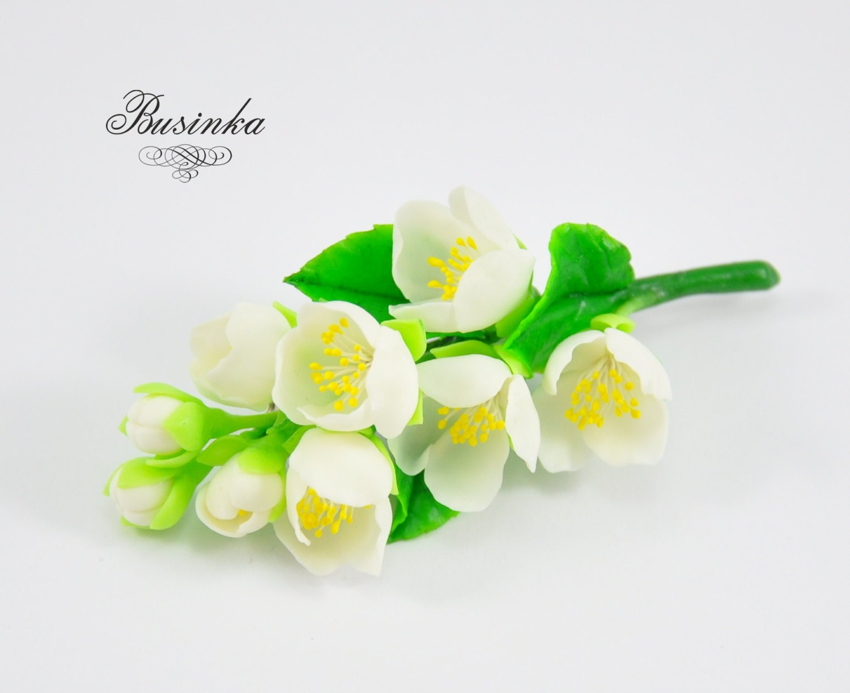 White jasmine flowers brooch flower brooch white jasmine zoom izmirmasajfo Gallery