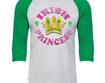 IRISH - Princess - Unisex Tri-Blend 3/4 Sleeve Raglan Baseball T-Shirt - Sizes XS-3XL in 14 Colors!