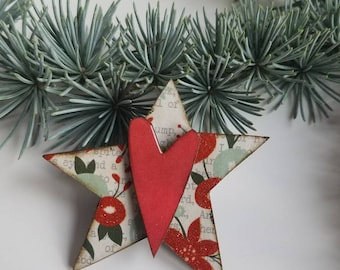 holiday baubles...pin...funky christmas star and heart