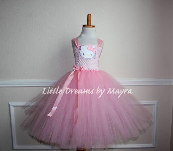 Rosa Hello Kitty inspiriert Tutu Kleid und passende Schleife
