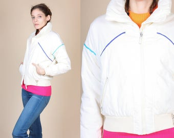 Vintage 70s Obermeyer Ski Jacket - Small // Puffy White Striped Cropped Winter Coat