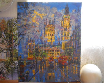 Paint by Number Victorian Castle Style Buildings Hand Painted