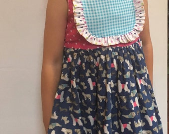 Party Dogs Pink and Blue Ruffle Dress with Sash Tie
